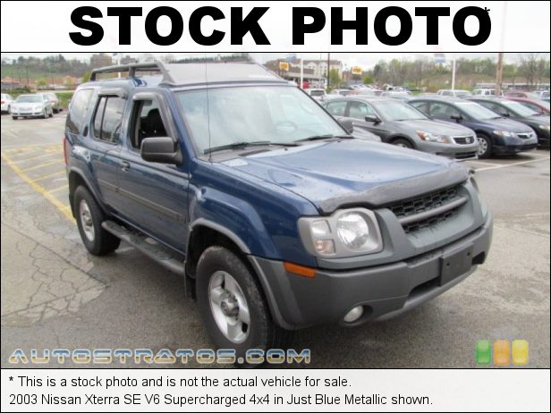 Stock photo for this 2003 Nissan Xterra SE V6 Supercharged 4x4 3.3 Liter Supercharged SOHC 12V V6 4 Speed Automatic