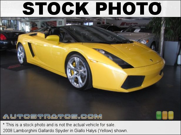 Stock photo for this 2008 Lamborghini Gallardo Spyder 5.0 Liter DOHC 40-Valve VVT V10 6 Speed E-Gear