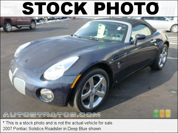 Stock photo for this 2007 Pontiac Solstice Roadster 2.4 Liter DOHC 16-Valve 4 Cylinder 5 Speed Automatic