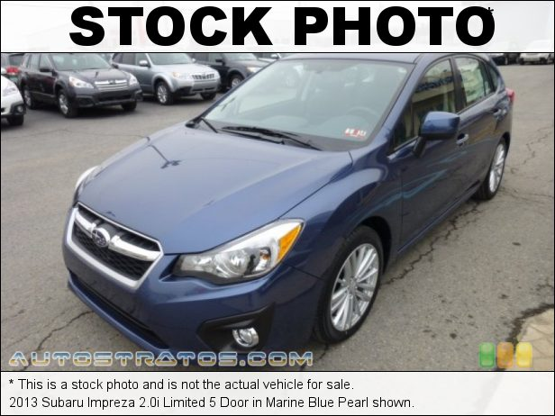 Stock photo for this 2013 Subaru Impreza 2.0i Limited 5 Door 2.0 Liter DOHC 16-Valve Dual-VVT Flat 4 Cylinder Lineartronic CVT Automatic