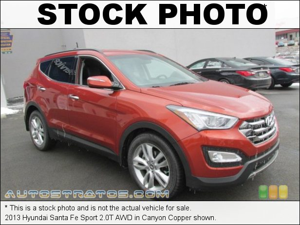 Stock photo for this 2013 Hyundai Santa Fe Sport 2.0T AWD 2.0 Liter Turbocharged DOHC 16-Valve D-CVVT 4 Cylinder 6 Speed Shiftronic Automatic