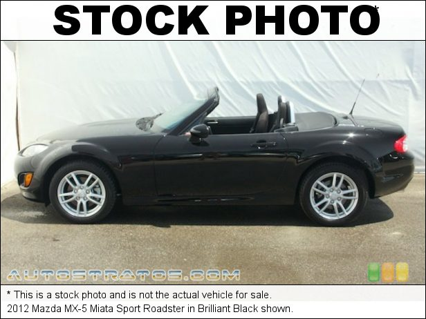 Stock photo for this 2012 Mazda MX-5 Miata Sport Roadster 2.0 Liter DOHC 16-Valve VVT 4 Cylinder 6 Speed Sport Automatic