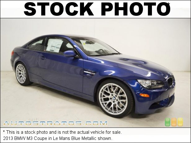 Stock photo for this 2013 BMW M3 Coupe 4.0 Liter M DOHC 32-Valve Double-VANOS VVT V8 7 Speed DKG Double Clutch Automatic