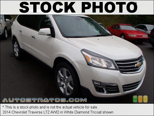 Stock photo for this 2014 Chevrolet Traverse LTZ AWD 3.6 Liter DI DOHC 24-Valve VVT V6 6 Speed Automatic
