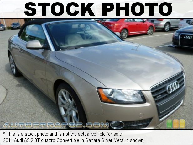 Stock photo for this 2011 Audi A5 2.0T quattro Convertible 2.0 Liter FSI Turbocharged DOHC 16-Valve VVT 4 Cylinder 8 Speed Tiptronic Automatic