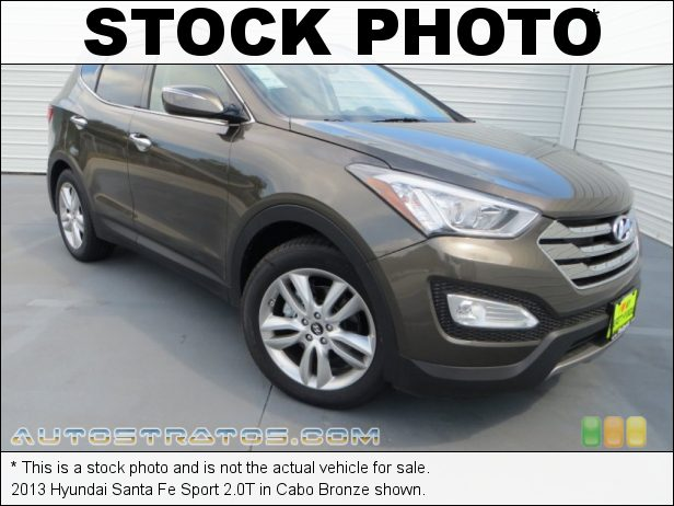 Stock photo for this 2013 Hyundai Santa Fe Sport 2.0T 2.0 Liter Turbocharged DOHC 16-Valve D-CVVT 4 Cylinder 6 Speed Shiftronic Automatic