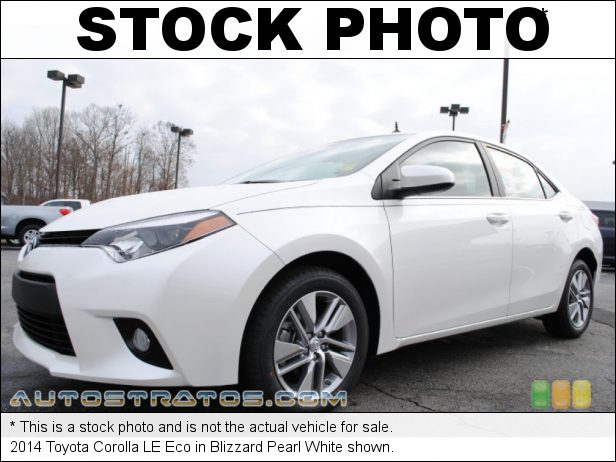 Stock photo for this 2014 Toyota Corolla LE Eco 1.8 Liter DOHC 16-Valve Dual VVT-i 4 Cylinder CVTi-S Automatic