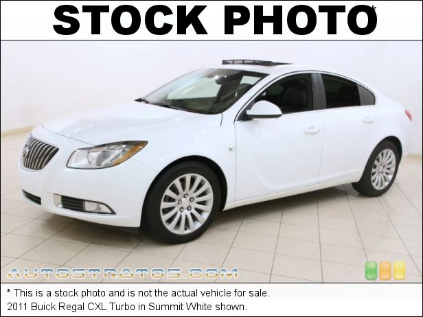 Stock photo for this 2011 Buick Regal CXL Turbo 2.0 Liter Turbocharged SIDI DOHC 16-Valve VVT ECOTEC 4 Cylinder 6 Speed DSC Automatic