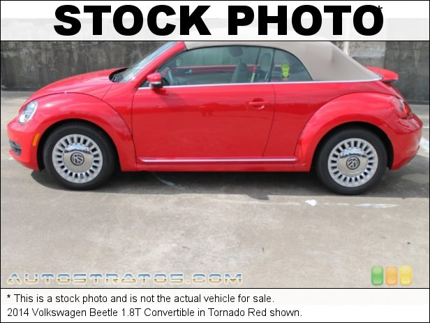 Stock photo for this 2014 Volkswagen Beetle 1.8T Convertible 1.8 Liter FSI Turbocharged DOHC 16-Valve VVT 4 Cylinder 6 Speed Tiptronic Automatic