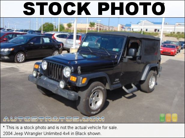 Stock photo for this 2004 Jeep Wrangler Unlimited 4x4 4.0 Liter OHV 12-Valve Inline 6 Cylinder 4 Speed Automatic