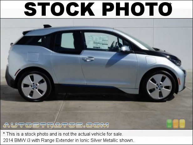 Stock photo for this 2014 BMW i3 with Range Extender 125kW BMW eDrive Hybrid Sychronous Motor/Range Extending 647cc 2 Single Speed Automatic
